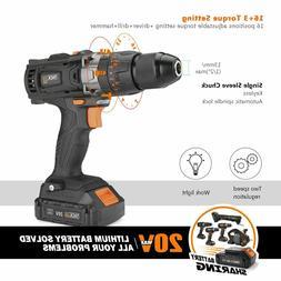 """1/2""""Cordless Tacklife,20V Drill 2.0Ah Lithium Battery,Hammer"""