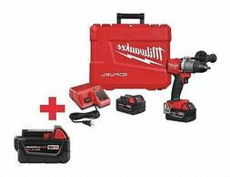 "MILWAUKEE 1/2"" Cordless Hammer Drill Kit, 18.0 Voltage, Batt"