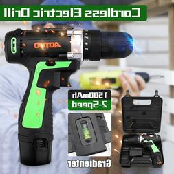 "3/8"" 12V LED Cordless Electric Drill Driver Screwdriver Tool"