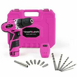 Pink Power 12V Cordless Drill & Driver Tool Kit for Women- T