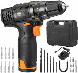 "TACKLIFE 12V Cordless Drill Driver,3/8"" Metal Chuck,2 Speeds"