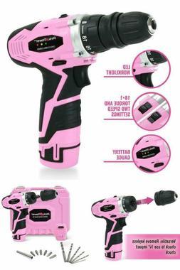 Pink Power 12V Cordless Impact Drill Charging Set Driver Too