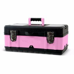 "Pink Power 18"" Aluminum Tool Box w/ Extra Storage Compartm"