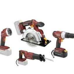 18 Volt Cordless 4 Tool Combo Pack Drill Circular Saw Recpro