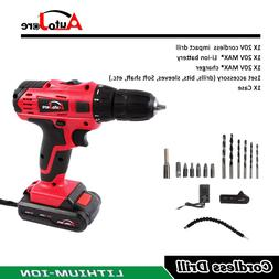 20V Max Powerful Cordless Electric Drill Li-Ion Battery Char