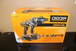 RIDGID 18V Cordless Combo Kit Hammer Drill Impact Driver 2 B