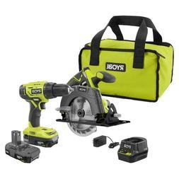 RYOBI 18V Cordless Drill Driver Circular Saw Batteries Bag P