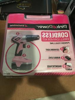 Pink Power 18V Electric 18 Volt Cordless Drill set  NEW SEAL