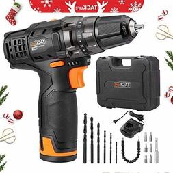 Tacklife 2.0Ah Lithium-Ion Cordless Drill Driver 12V All-Met
