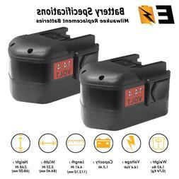 2 x 14.4V 14.4 VOLT NiCD Battery for MILWAUKEE 48-11-1024 Co