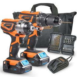 VonHaus 20V Cordless 2-TooI Drill & Driver Combo Kit with Ba