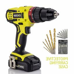 """Cacoop 20V Hammer Drill/Driver Set, 2-Speed, ½""""All-Metal Ch"""
