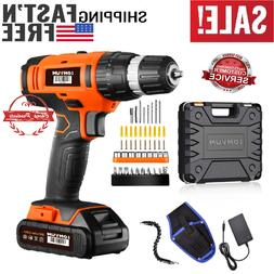 20V Power Cordless Drill Set with 2.0Ah Lithium-Ion Battery,