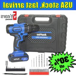 2x Battery 21 V drill 2 Speed Electric Cordless Drill Driver