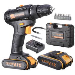 21V Cordless Drill Driver 2 pcs battery power and charger 3/