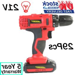 21V 1500mAh Li-Ion Battery Electric Cordless Drill Set 29Pcs