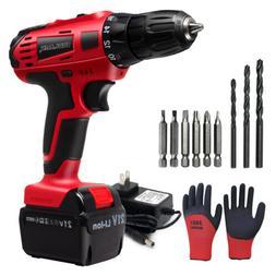 "21V 3/8"" Cordless Drill Kit 18+1 Clutch Drill Set w/ Battery"