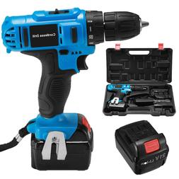 "21V 3/8"" Cordless Drill Kit Driver Drill Li-Ion Charger Work"