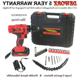 21V Cordless Drill Electric Screwdriver 2 Speed LED Light &