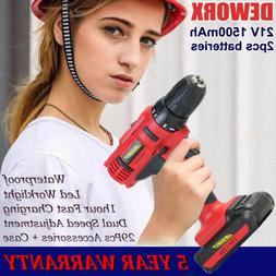 21V Cordless Electric Drill Double Speed Set 2x Li-ion Batte