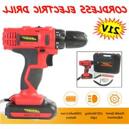21V Cordless Electric Drill Driver Set 2 Speed Adjustment w/