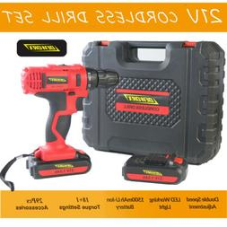 21V Cordless Electric Drill W/ Two Li-ion Battery 2-Speed Ad