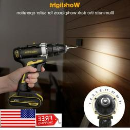 21V Cordless Electric Screwdriver Drill 2 Speed Driver 2000m