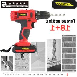 21V Cordless Electric Screwdriver Drill Drive 2 Speed 18+1 T