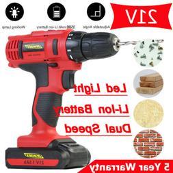 21V Electric Cordless Drill Combi Screwdriver Kit Assemble &