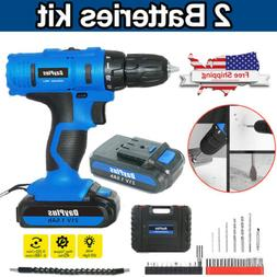 21V Power Cordless Drill Driver Electric Rechargeable With 2