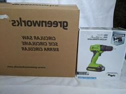 Greenworks 24 Volt Lithium Max Cordless Drill Driver and Cir
