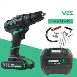 25V Cordless 2 Speed Power Impact Drill/Driver w/Drill bits