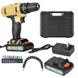 2 Speed 25V Cordless Hand TooI Drill & Driver Combo Kit with