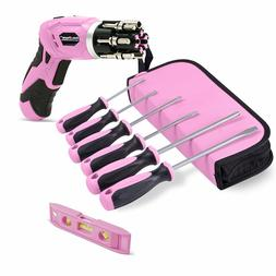 Pink Power 3.6 Volt Electric Screwdriver Kit & 6 Piece Handh