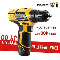 "DEKO 12V 3/8"" Lithium-Ion Battery Cordless 2-Speed Drill Ele"