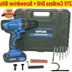 "3/8"" 21v Cordless Drill Kit Driver Drill Li-Ion Charger Work"