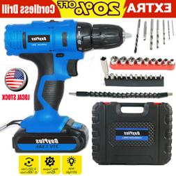 "3/8"" cordless drill kit driver drill li-ion battery and char"