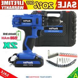 "3/8"" cordless drill kit driver drill two li-ion battery char"