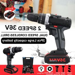 3 In 1 36V 3/8'' Cordless Drill Driver LED 2 Speed 25 Torque