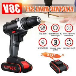 36V Cordless Drill Double Impac 25 Speed LED Worklight Light