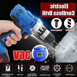 36V Electric Cordless Drill Driver Set Screwdriver LED with