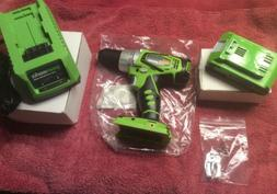 Greenworks 37012A Compact Drill W/Battery And Charger-New