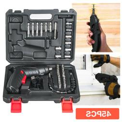 45pcs Cordless Electric Screwdriver Rechargeable Drill Kit H