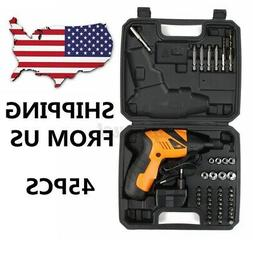 45PCS Rechargeable Wireless Cordless Electric Screwdriver Dr
