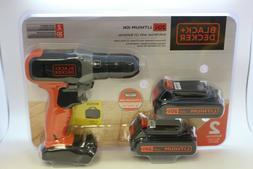 Black & Decker 20 Volt Cordless Drill/Driver BCD702C2BVA New