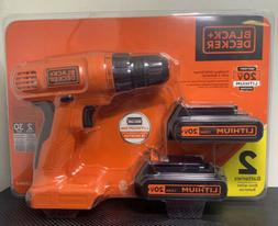 Black and Decker Cordless Drill Driver 20V Combo Tool Kit wi