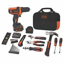 BLACK+DECKER 12V MAX Drill & Home Tool Kit, 60-Piece