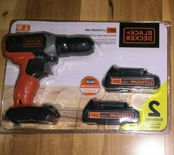 BLACK+DECKER 20V MAX Lith-Ion Drill With TWO Batteries PLUS