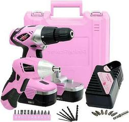 Pink Power Cordless 18V Drill Kit Women Ladies Drill Screwdr
