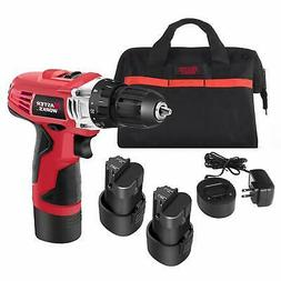 12V Cordless Drill, Power Drill Set with 2 PACKS of Battery,